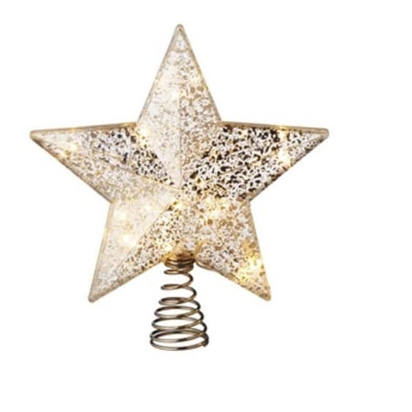 """9.25"""" Battery Operated Pre-Lit Silver Speckled Star Christmas Tree Topper - Clear Lights"""
