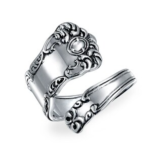 Bling Jewelry Oxidized Sterling Silver Spoon Ring Adjustable