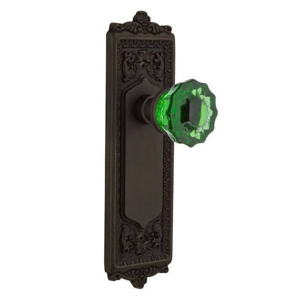 Nostalgic Warehouse Eadcre Dd Nk Egg And Dart Solid Br Rose Dummy Door Set With Emerald Crystal