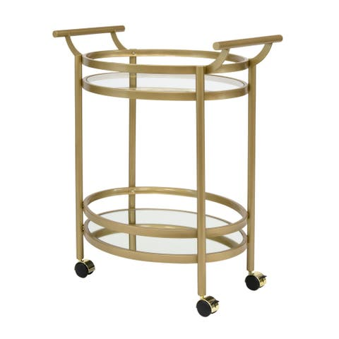 """Offex Home Palazzo 2-Tier Oval Bar/Serving Cart - Gold/Clear Glass - 27""""W x 18""""D x 33.25""""H"""