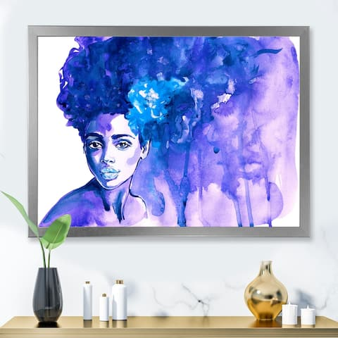 Designart 'Glorious Blue Portrait of African American Woman' Modern Framed Art Print
