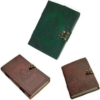 Link to Leather Journal Tree of Life Writing Notebook Daily Notepad Triquetra Travel Diary Art Sketchbook - 5 x 7 inches Similar Items in Planners & Accessories