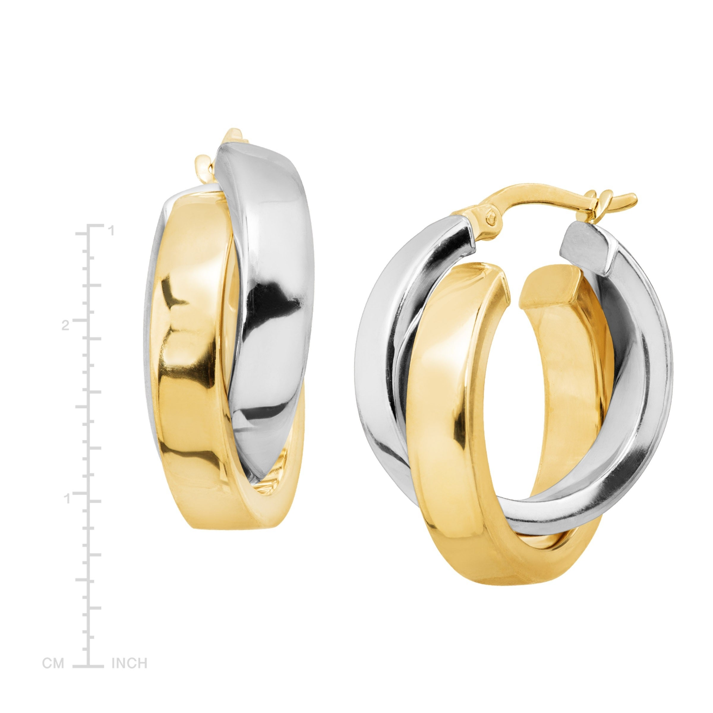 12 x 12mm 14k Yellow or White Gold Fancy Double Heart Hoop Earrings