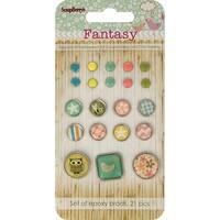 Scrapberry's Fantasy Epoxy Brads-Pastel Solids & Patterns 21/Pkg