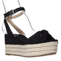 MICHAEL Michael Kors Maxwell Mid Wedge Platform Ankle Strap Sandals, Black