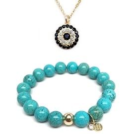 "Julieta Jewelry Set 10mm Turquoise Magnesite Emma 7"" Stretch Bracelet & 12mm Lucky Eye CZ Charm 16"" 14k Over .925 SS Necklace"