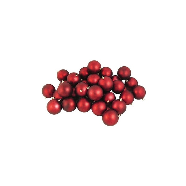 "32ct Matte Red Hot Shatterproof Christmas Ball Ornaments 3.25"" (80mm)"