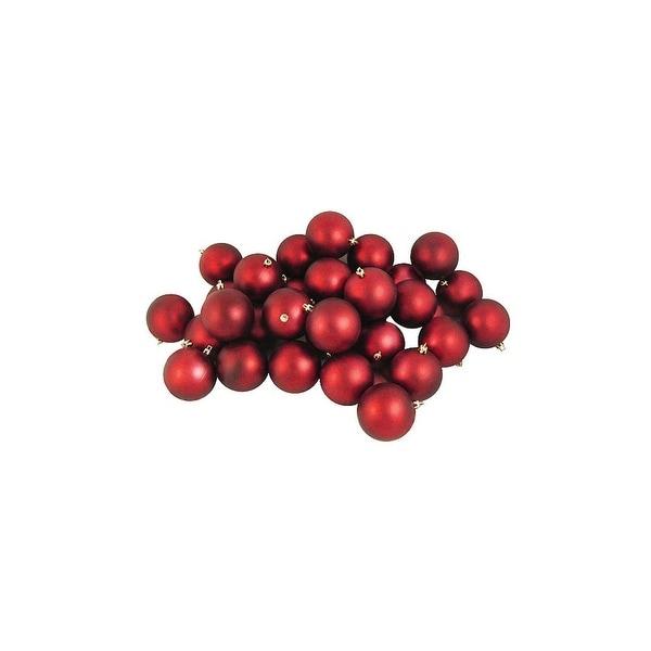 "96ct Matte Red Hot Shatterproof Christmas Ball Ornaments 3.25"" (80mm)"