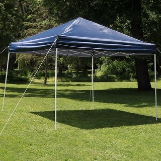 Sunnydaze Quick-Up 12-Foot Straight Leg Canopy with Carrying Bag - Navy Blue