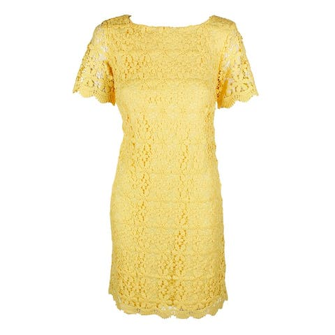 Jessica Howard Yellow Short-Sleeve Scalloped-Hem Lace Sheath Dress 6