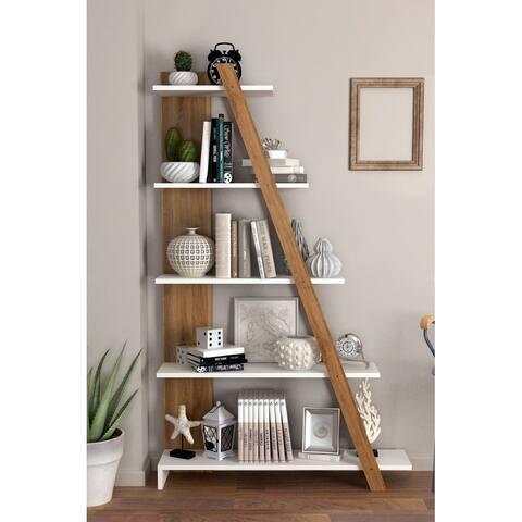Ladder Shape 5 tier Asymmetrical Bookcase