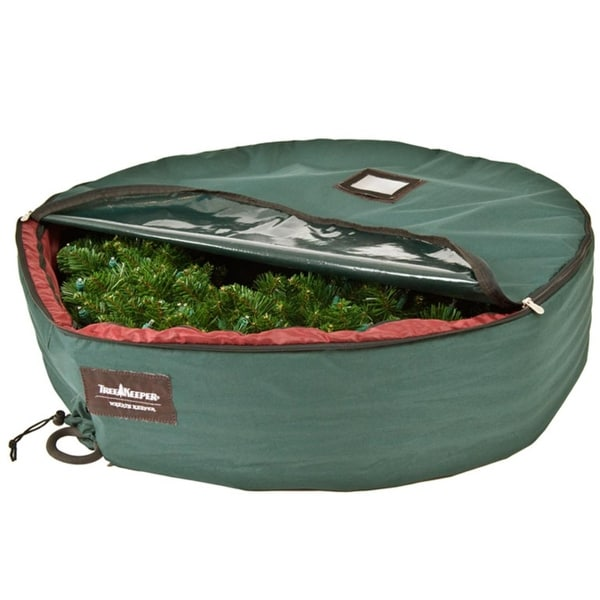 """36"""" Christmas Wreath Protective Storage Bag with Removable Direct Suspend Handle - green"""