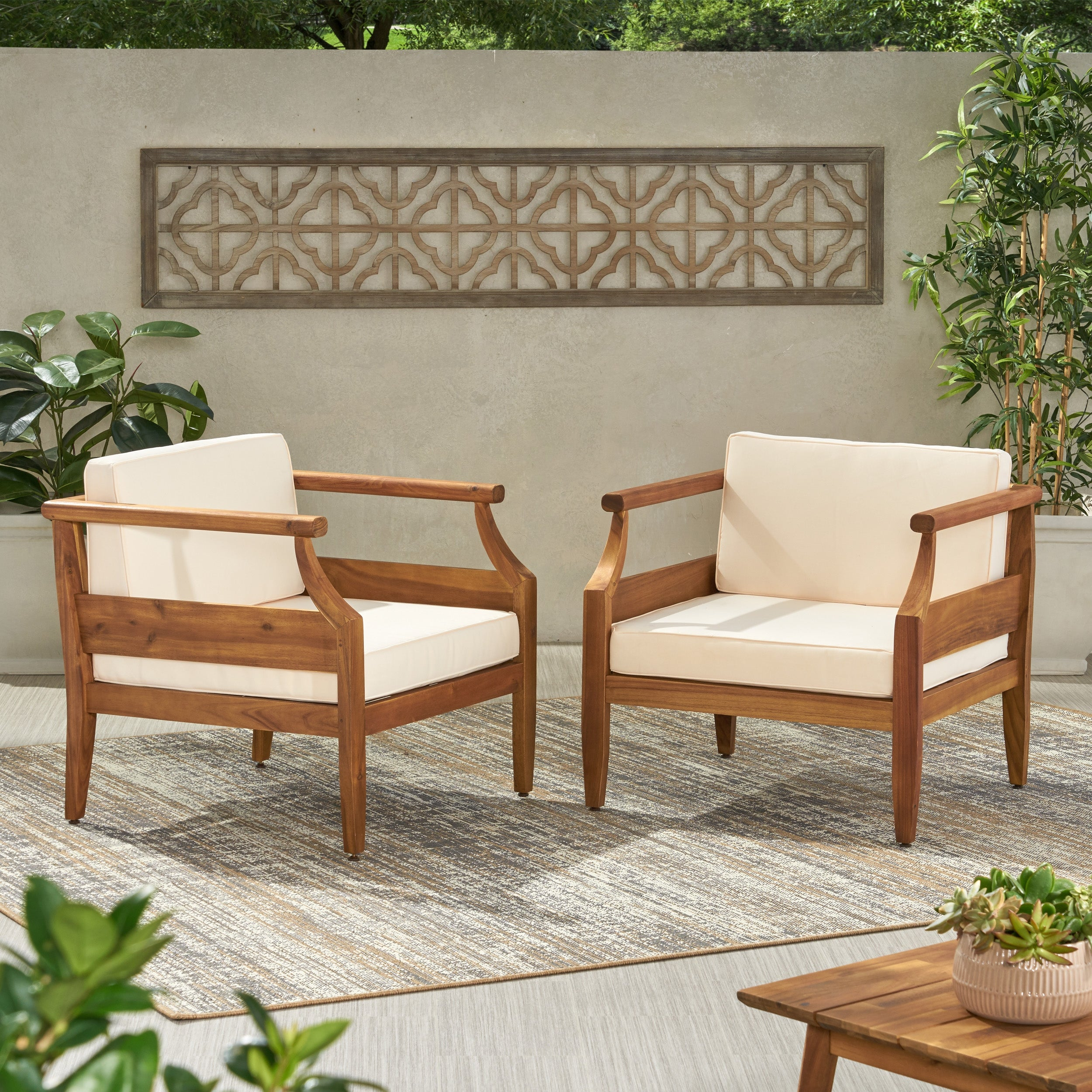 Shop Black Friday Deals On Aston Outdoor Modern Acacia Cushioned Club Chairs Set Of 2 By Christopher Knight Home Overstock 30816251 Teak Finish Dark Gray Cushion