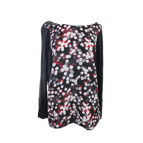 Kensie Red Combo Long-Sleeve Dot-Print Tunic XS