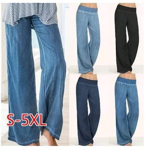 Women High Waist Pants & Capris Wide Leg Pants Sports Loose Long Pants Solid Color Casual Denim