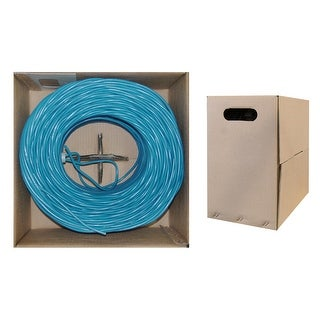 Offex Bulk Cat5e Blue Ethernet Cable, Solid, UTP (Unshielded Twisted Pair), Pullbox, 1000 foot