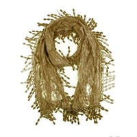 Women's Fancy Sheer Lace Scarf With Fringe Drops Khaki Color