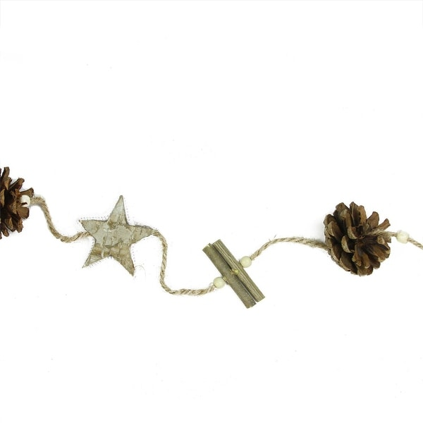 5' Natural Brown Birch Bark Stars, Twigs and Pine Cone Artificial Christmas Garland - Unlit