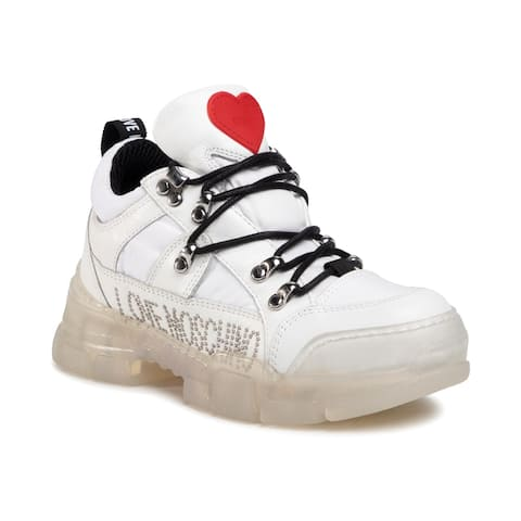 Love Moschino Women's Leather Studded Low-Top Sneakers White