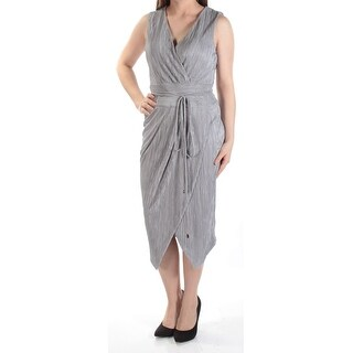 RACHEL Rachel Roy NEW Gray Womens XXL Pleated Metallic Sheath Dress