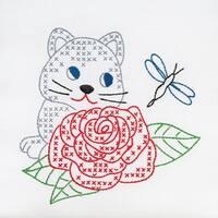 """Stamped White Quilt Blocks 9""""X9"""" 12/Pkg-Kitten & Rose"""