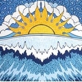 Handmade 100% Cotton Sun Wave Surf Tapestry Tablecloth Spread Twin 60x90 Small 30x45 Dorm Beach - Thumbnail 0