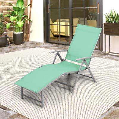 """Outdoor Adjustable Aluminum Patio Folding Chaise Lounge Chair - 69.7"""" L x 20.1"""" W x 14.1"""" H"""