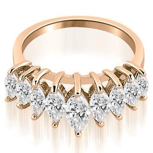 1.75 cttw. 14K Rose Gold Marquise Diamond Prong Wedding Band