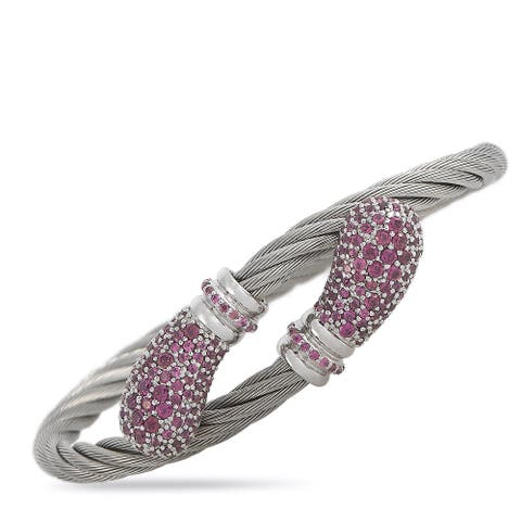 Charriol Sterling Silver and Stainless Steel Rhodolite Bangle Bracelet