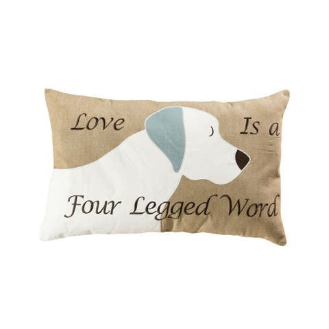White Dog with Love is a Four Legged Word Lumbar 16x26-inch Lumbar Pillow Cover Only Tan/White/Grey