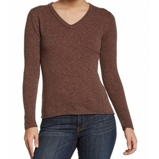 Philosophy NEW Brown Women's Size Small S V-Neck Cashmere Solid Sweater