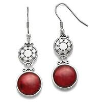 Chisel Stainless Steel Red Glass Polished Shepherd Hook Earrings