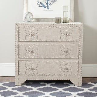 Link to Safavieh Gordy Grey 3-drawer Chest - Silver Nailhead Similar Items in Dressers & Chests