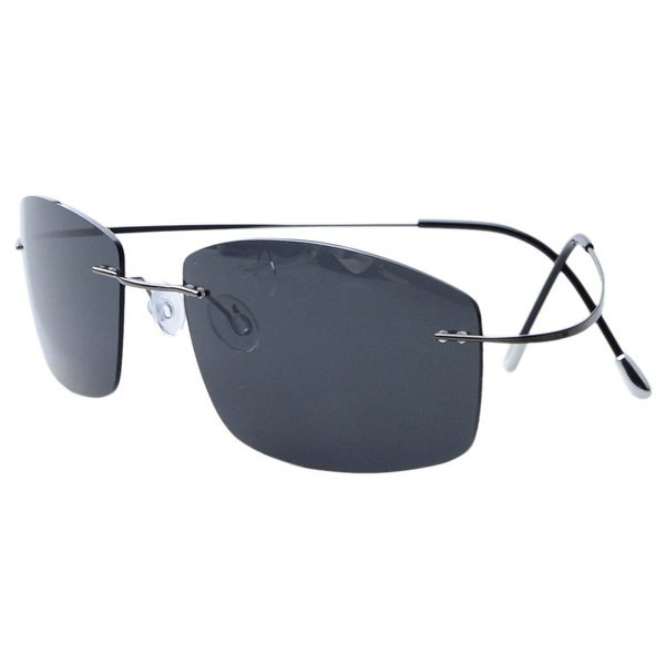 7c13d55ddd Shop Eyekepper Rimless Titanium Frame Polarized Sunglasses Grey Lens ...
