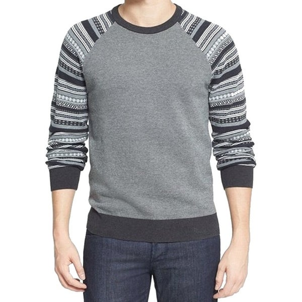 1901 NORDSTROM NEW Gray Mens Size XL Fair-Isle knit Crewneck Sweater