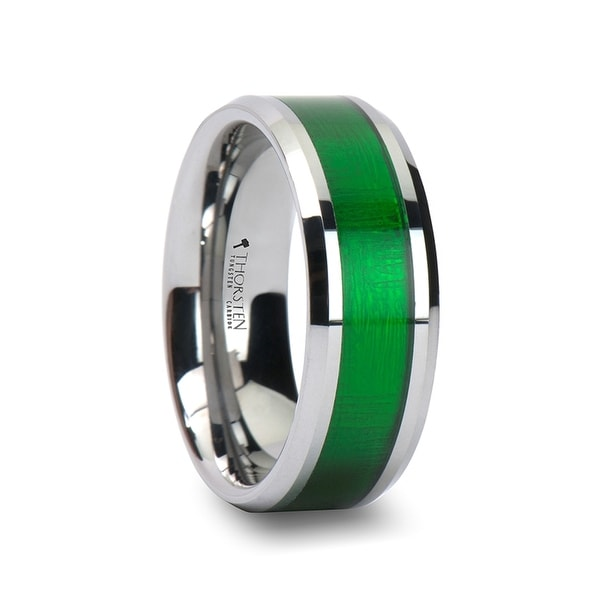 THORSTEN - VARDON Tungsten Carbide Ring with Textured Green Inlay