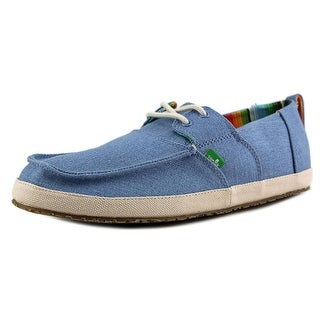 Sanuk Admiral Men Moc Toe Canvas Blue Boat Shoe