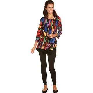 Women's Tunic Top - Colors Collide 3/4 Sleeve Swing Shirt