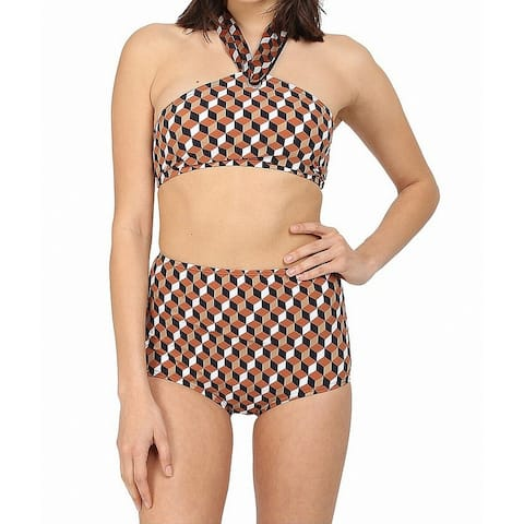 Michael Kors Womens Swimwear Brown Size 10 High-Neck Two Piece Set