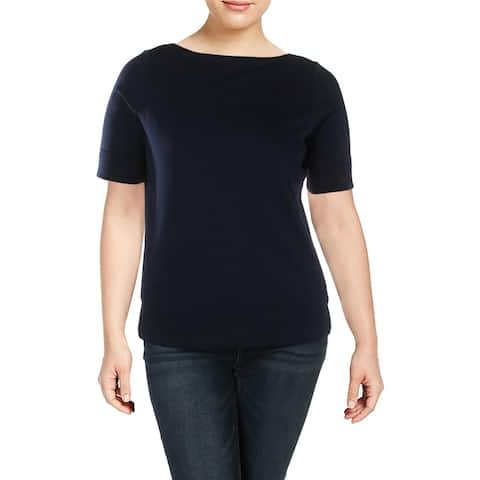 Lauren Ralph Lauren Womens Plus T-Shirt Cuffed Elbow Sleeves