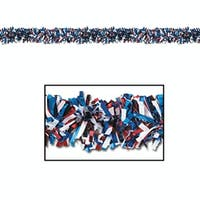 12 Metallic Red, White and Blue Foil Tinsel 6-Ply 4th of July Garlands 15' - Unlit