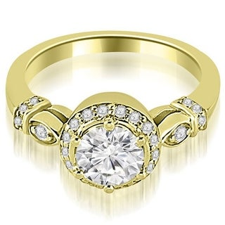 1 20 CT Antique Round Cut Diamond Engagement Ring In 14KT Gold White H I