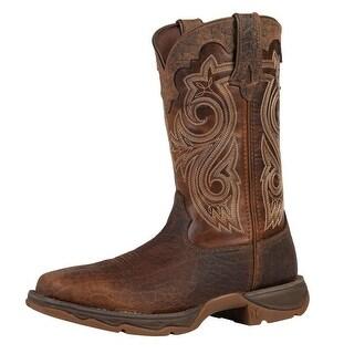 """Durango Work Boots Womens 10"""" Rebel Steel Toe Rocker Heel Brown"""