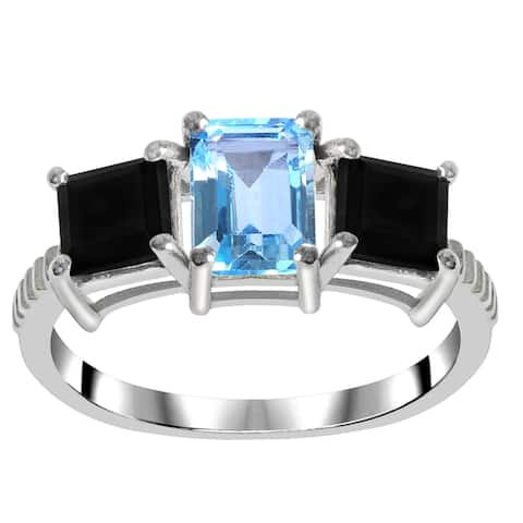 Topaz Sterling Silver Octagon 3-Stone Ring by Orchid Jewelry Size- 6