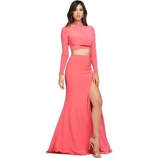 Mac Duggal Womens Rhinestone Side Slit Crop Top Dress