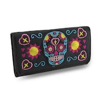Embroidered Sugar Skull Rhinestone Studded Wallet w/Glossy Vinyl Trim