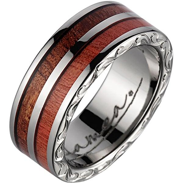 Titanium Wedding Band With Koa Wood Pink Ivory Inlay & Edge Design 7mm