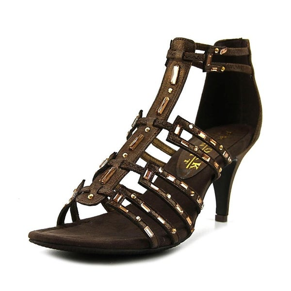 New York Transit Value Me Women Open-Toe Canvas Bronze Heels