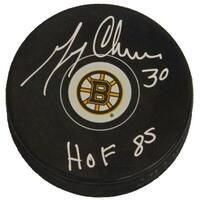 Gerry Cheevers Boston Bruins Logo Hockey Puck wHOF 85