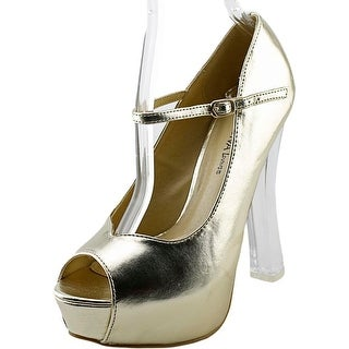 Wild Diva Mimosa-01 Women Open Toe Synthetic Gold Platform Heel